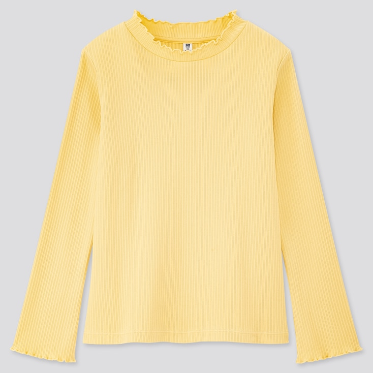 Girls Ribbed Frill High-Neck Long-Sleeve T-Shirt, Yellow, Large