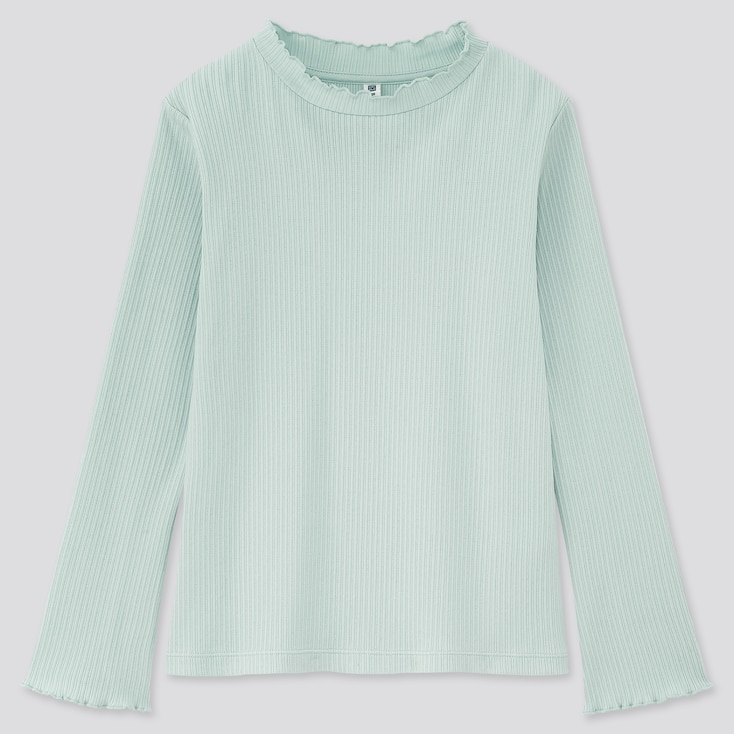 Girls Ribbed Frill High-Neck Long-Sleeve T-Shirt, Light Blue, Large