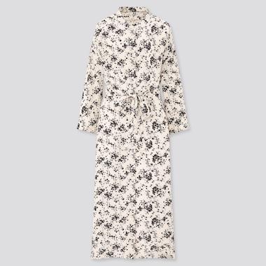 Women Printed 3/4 Sleeve Shirt Dress, Off White, Medium