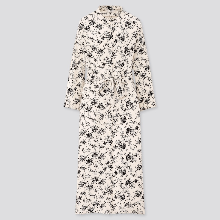 Women Printed 3/4 Sleeve Shirt Dress, Off White, Large