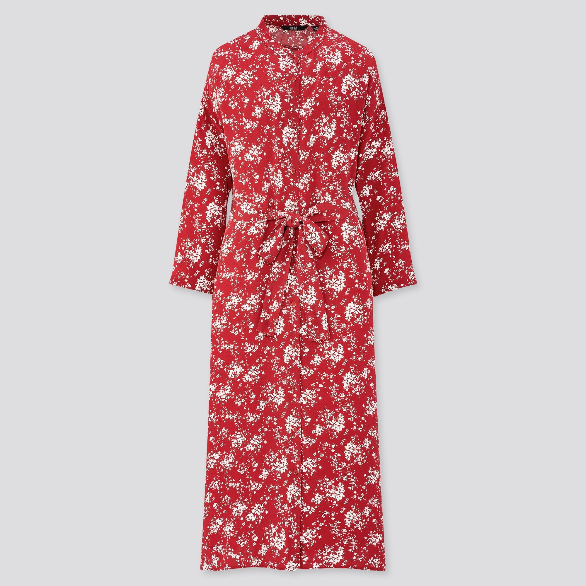 WOMEN PRINTED 3/4 SLEEVE SHIRT DRESS