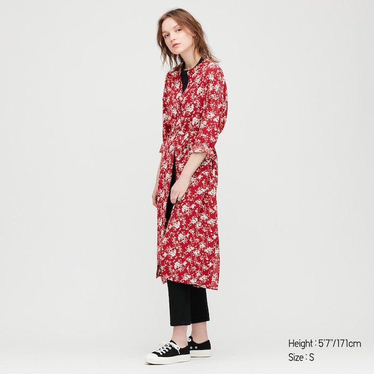 Women Printed 3/4 Sleeve Shirt Dress, Red, Large