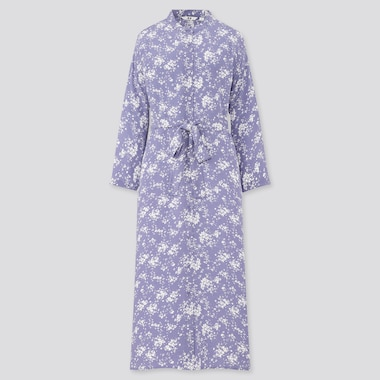 Women Printed 3/4 Sleeve Shirt Dress, Blue, Medium