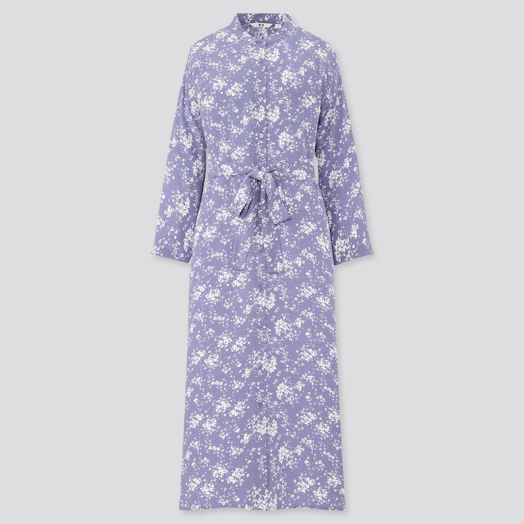 Women Printed 3/4 Sleeve Shirt Dress, Blue, Large