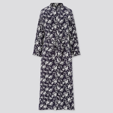 Women Printed 3/4 Sleeve Shirt Dress, Navy, Medium