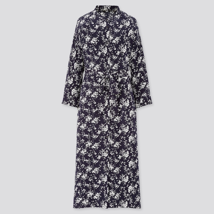 Women Printed 3/4 Sleeve Shirt Dress, Navy, Large