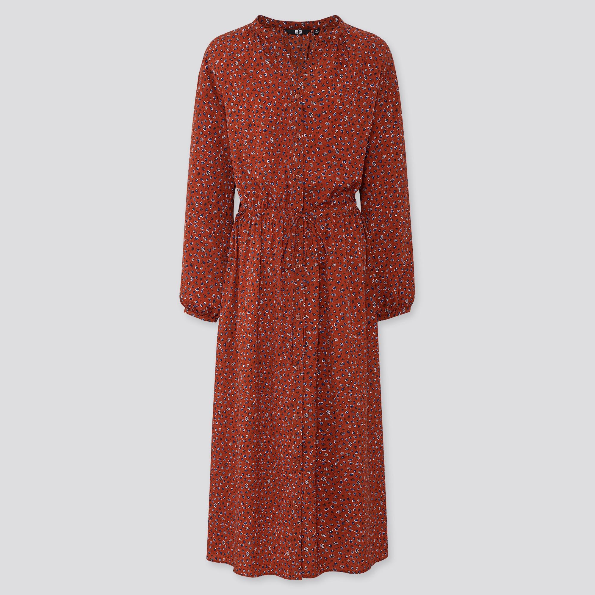 WOMEN PRINTED V-NECK LONG-SLEEVE LONG SHIRT DRESS