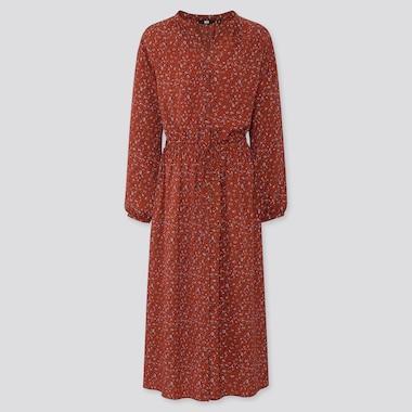 WOMEN PRINTED V NECK LONG SLEEVED MAXI SHIRT DRESS