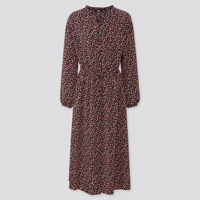 Women Printed V Neck Long Sleeved Maxi Shirt Dress  (9) by Uniqlo