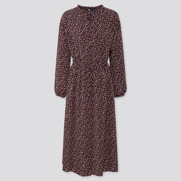 WOMEN PRINTED V-NECK LONG-SLEEVE LONG SHIRT DRESS, NAVY, large