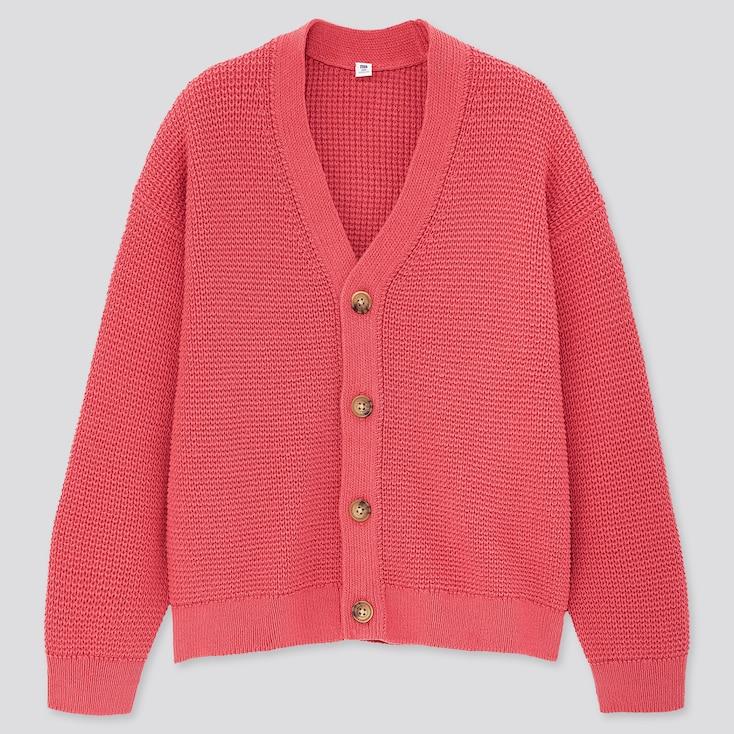 Girls Waffle V-Neck Long-Sleeve Cardigan, Pink, Large