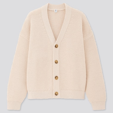 Girls Waffle V-Neck Long-Sleeve Cardigan, Natural, Medium
