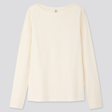 Women Ribbed Boat Neck Long-Sleeve T-Shirt, Off White, Medium