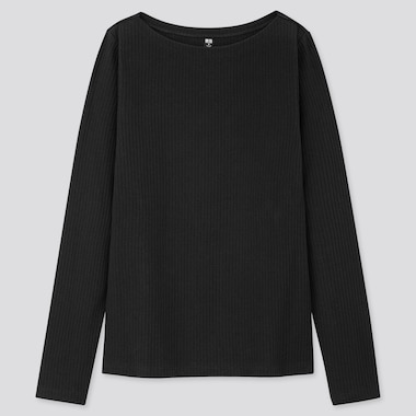 Women Ribbed Boat Neck Long-Sleeve T-Shirt, Black, Medium