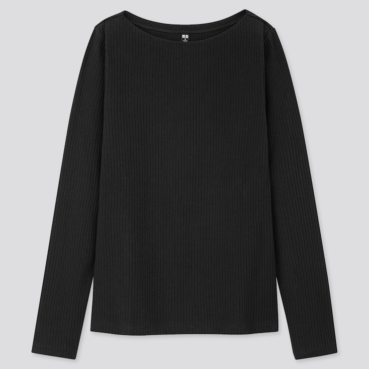 Women Ribbed Boat Neck Long-Sleeve T-Shirt, Black, Large