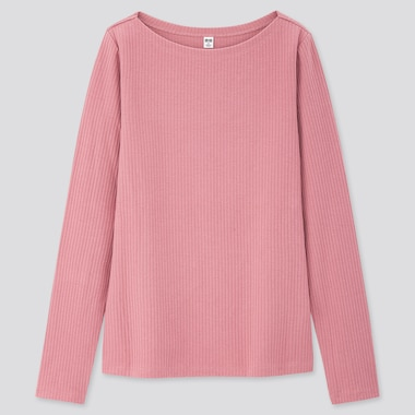 Women Ribbed Boat Neck Long-Sleeve T-Shirt, Pink, Medium