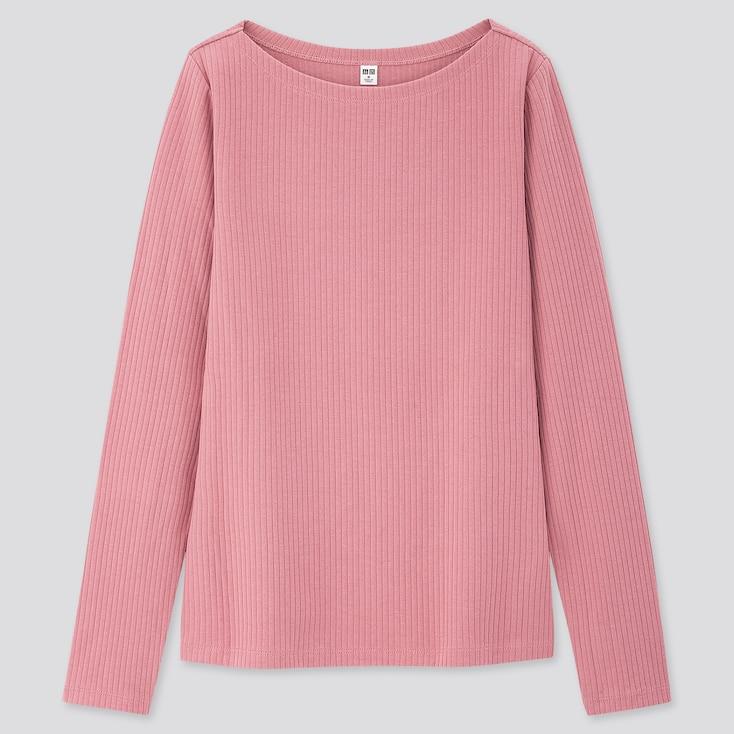 Women Ribbed Boat Neck Long-Sleeve T-Shirt, Pink, Large