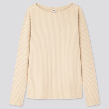 Women Ribbed Boat Neck Long-Sleeve T-Shirt, Natural, Medium