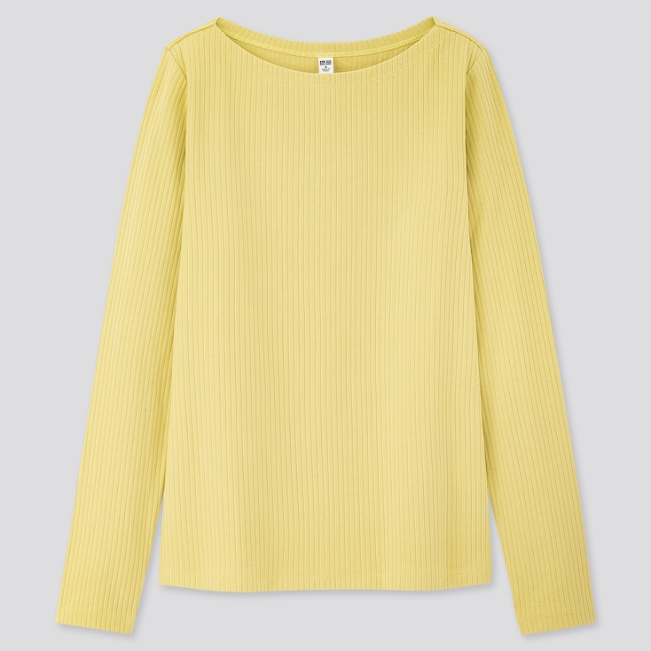 Women Ribbed Boat Neck Long-Sleeve T-Shirt, Yellow, Large