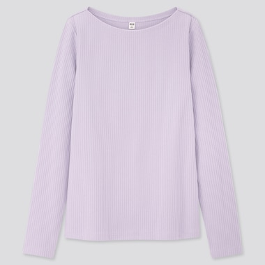 Women Ribbed Boat Neck Long-Sleeve T-Shirt, Purple, Medium