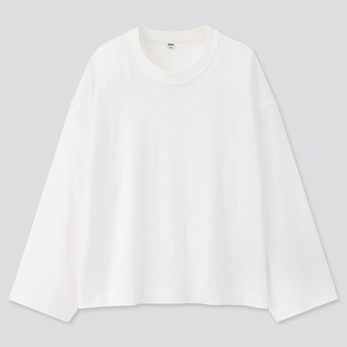 Women Cotton Oversized Wide-Sleeve Crew Neck T-Shirt, White, Medium