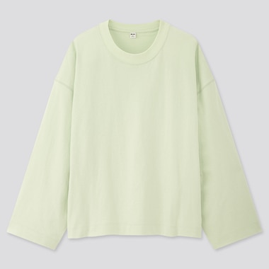 Women Cotton Oversized Wide-Sleeve Crew Neck T-Shirt, Green, Medium