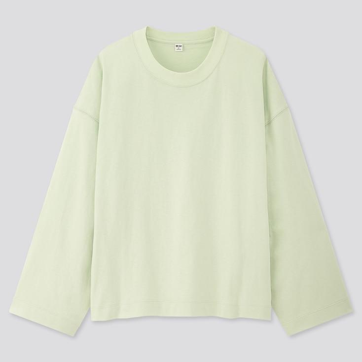 Women Cotton Oversized Wide-Sleeve Crew Neck T-Shirt, Green, Large