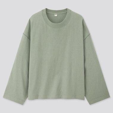 Women Cotton Oversized Wide-Sleeve Crew Neck T-Shirt, Green, Medium