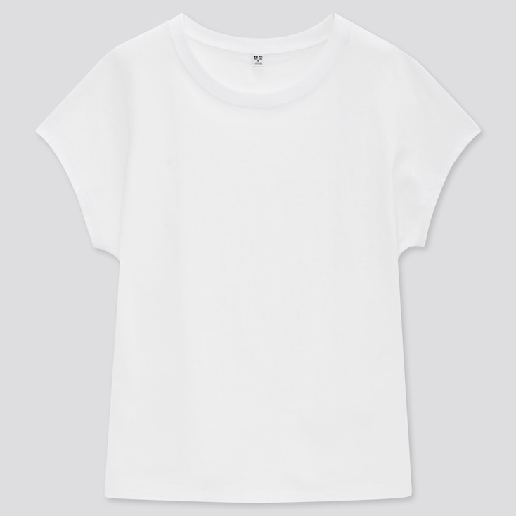 Women Cotton Relaxed French Short-Sleeve T-Shirt, White, Large