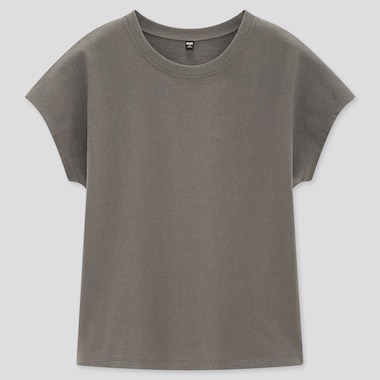 Women Cotton Relaxed French Sleeved T-Shirt