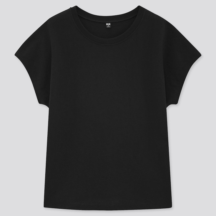 Women Cotton Relaxed French Short-Sleeve T-Shirt, Black, Large