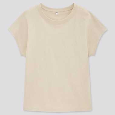 Women Cotton Relaxed French Short-Sleeve T-Shirt, Natural, Medium