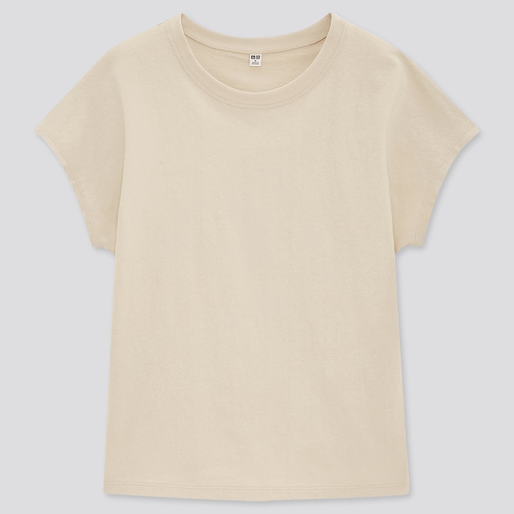 Women Cotton Relaxed French Short-Sleeve T-Shirt, Natural, Large