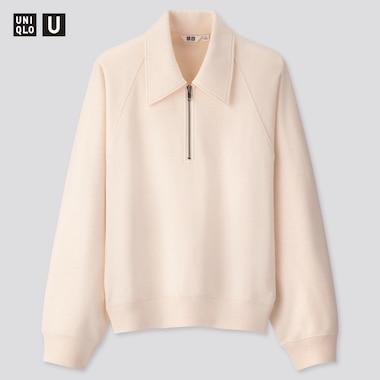 Women U Sweat Half-Zip Long-Sleeve Pullover Shirt, Natural, Medium