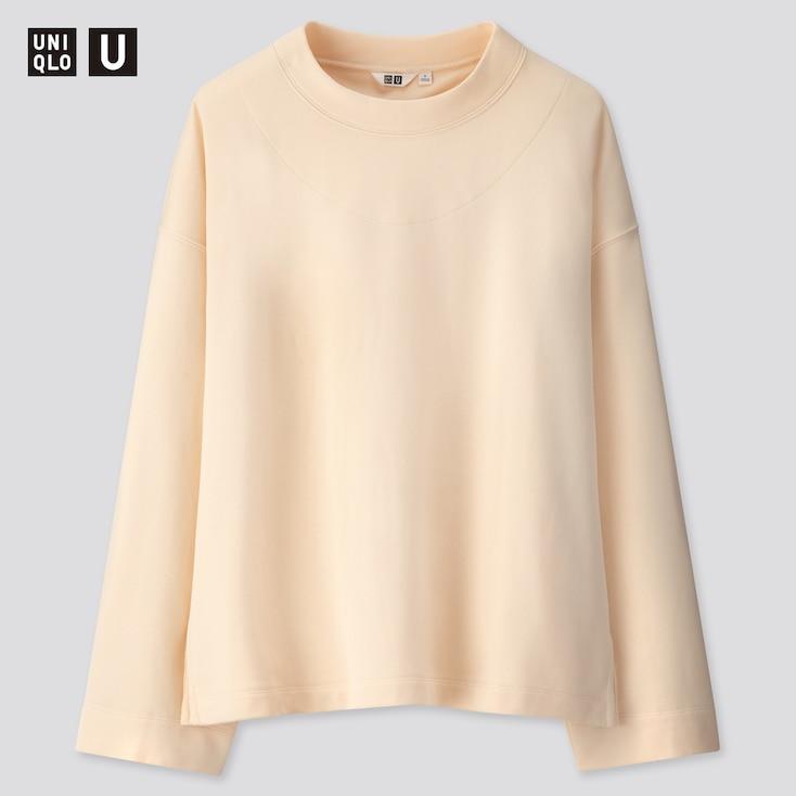 Women U Sweat Boxy Long-Sleeve Pullover Shirt, Off White, Large