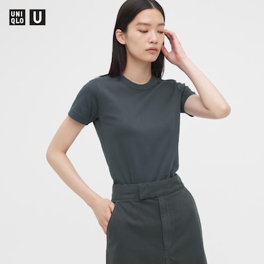 Women U Crew Neck Short-Sleeve T-Shirt, Dark Gray, Medium