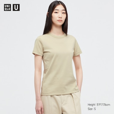 Women U Crew Neck Short-Sleeve T-Shirt, Beige, Medium