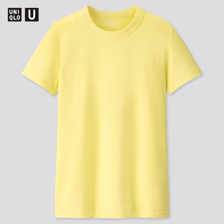 Women U Crew Neck Short-Sleeve T-Shirt, Yellow, Large