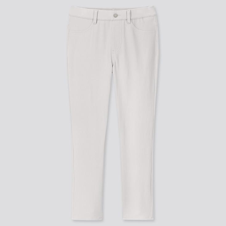 Women Ultra Stretch Cropped Leggings Pants, Light Gray, Large