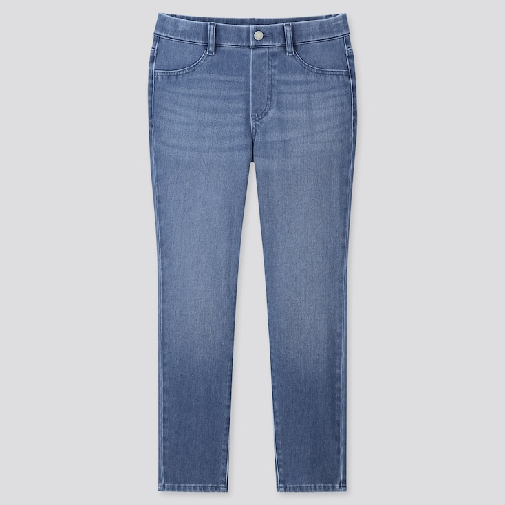 Women Ultra Stretch Denim Cropped Leggings Pants, Blue, Large