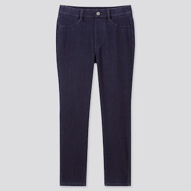 Women Ultra Stretch Denim Cropped Leggings Trousers