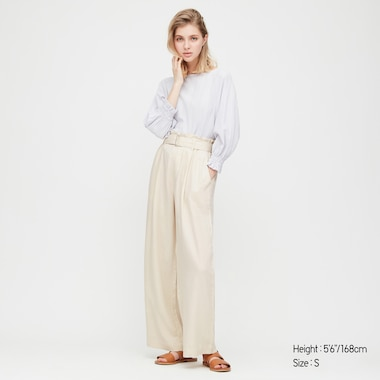 Women Belted Linen Rayon Wide Pants, Off White, Medium