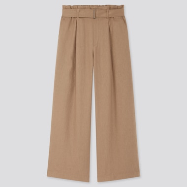 Women Belted Linen Rayon Wide Pants, Brown, Medium