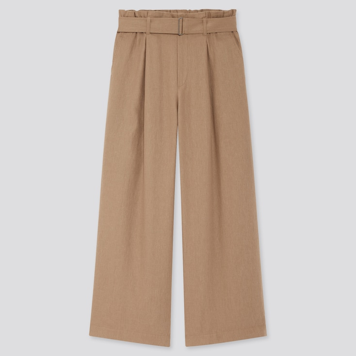 Women Belted Linen Rayon Wide Pants, Brown, Large