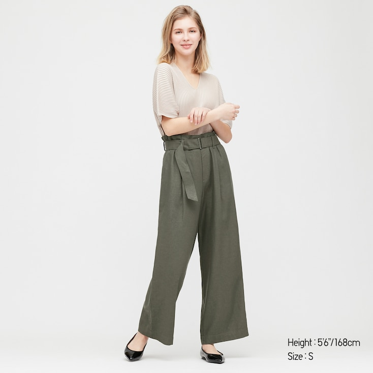 Women Belted Linen Rayon Wide Pants, Dark Green, Large