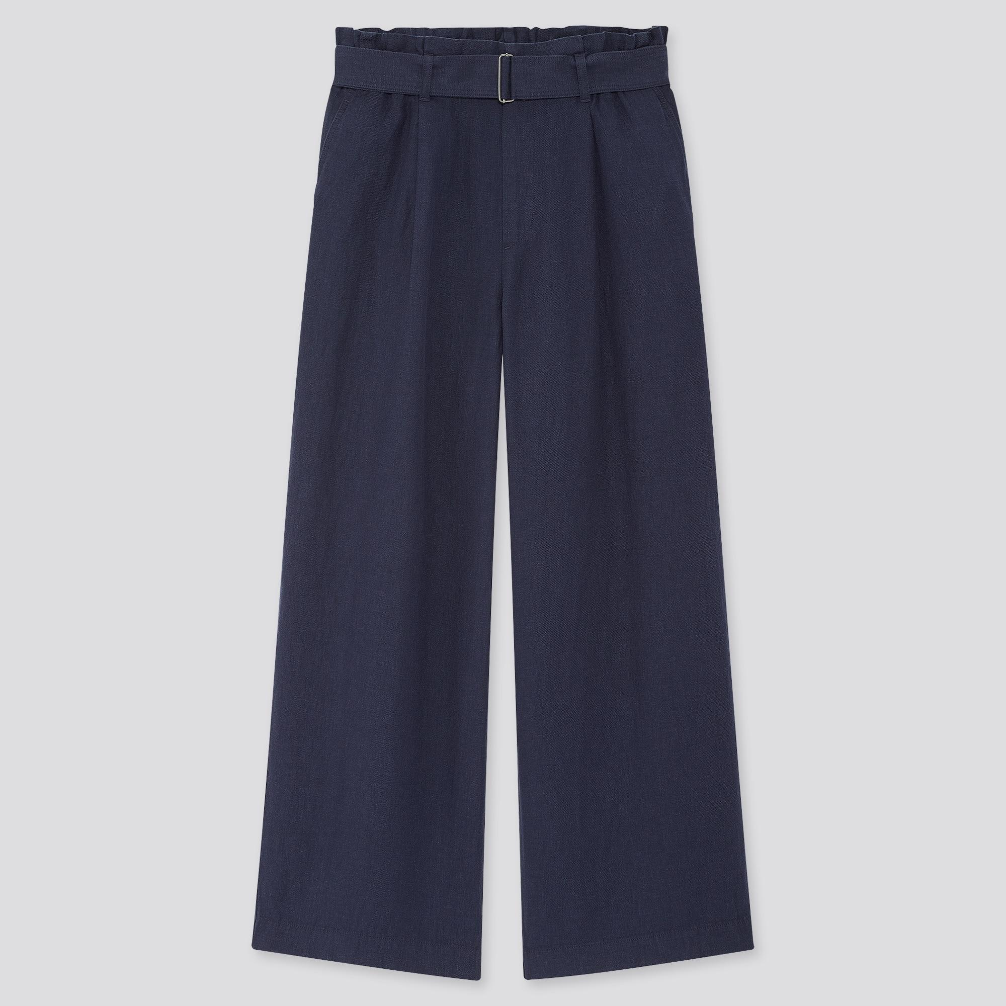 WOMEN BELTED LINEN RAYON WIDE PANTS