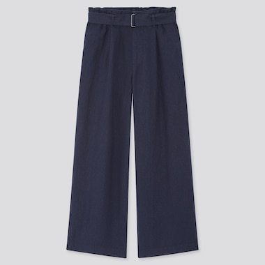 Women Belted Linen Rayon Wide Pants, Navy, Medium