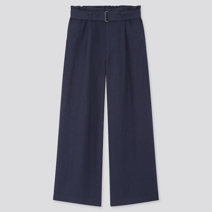 Women Belted Linen Rayon Wide Pants, Navy, Large