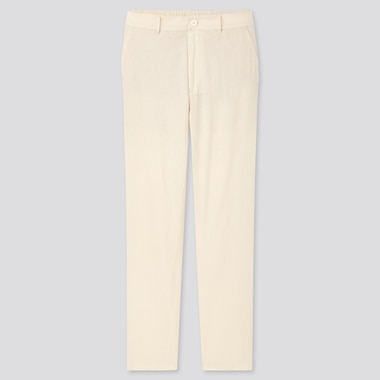Women Linen Cotton Tapered Pants, Off White, Medium