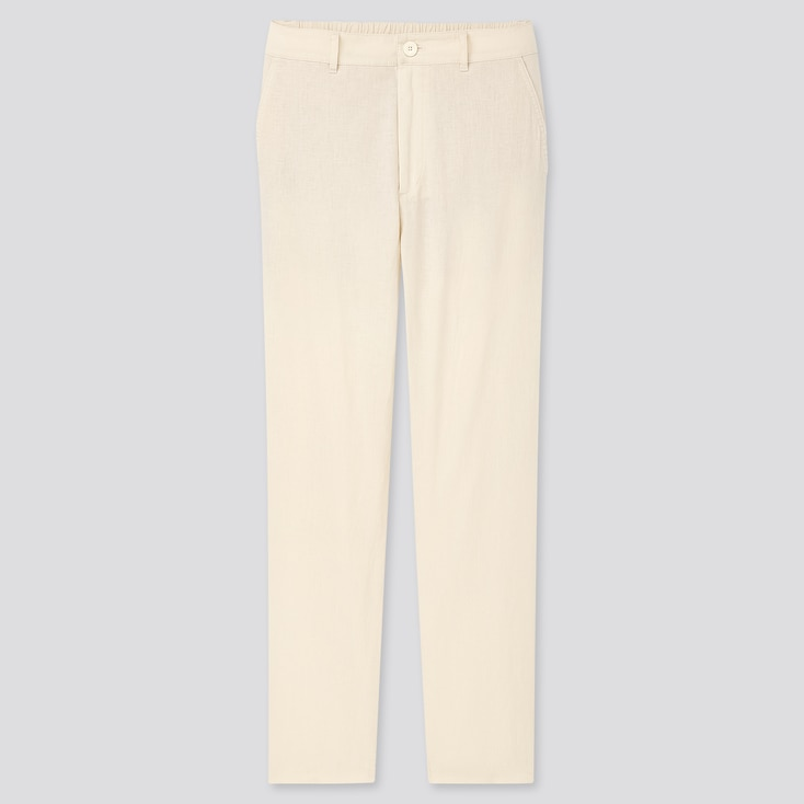 Women Linen Cotton Tapered Pants, Off White, Large